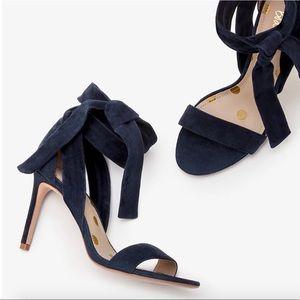 Boden Ankle Tie Heels, Navy, Size 7